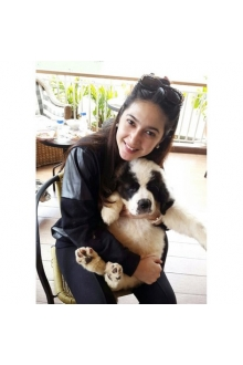 Nabila Syakieb With Saint Bernard